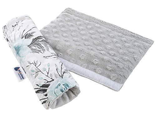 Gurtpolster Schulterpolster für Auto 17x22cm Baby 100% Baumwolle Minky Medi Partners doppelseitig Autogurt Gurtschutz Sportwagen scheuerstellen (Blument mit grauen Minky)