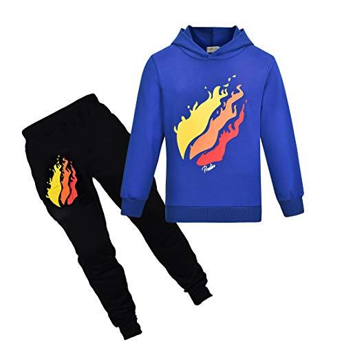 Thombase Prestonplayz Youtuber Jungen Mädchen Hoodie + Pant Set Pullover Sweatshirts mit Kapuze Trainingsanzug Sport Anzüge (Blau, 140)