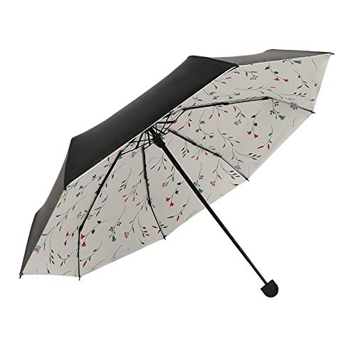 SUNEED Compact Travel Umbrella Mini UV Protection Umbrella Lightweight Mini Travel Umbrella Compact Small Folding Umbrella Rain & Sun Portable Pocket Umbrella Parasol Umbrella for Women (Black)