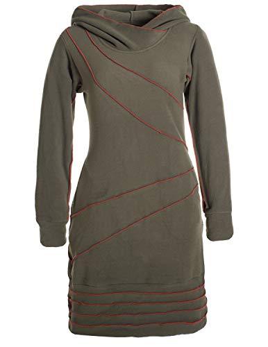 Vishes - Alternative Bekleidung - Langärmliges Patchwork Hoodie Eco Fleecekleid mit Daumenlöchern Olive 46