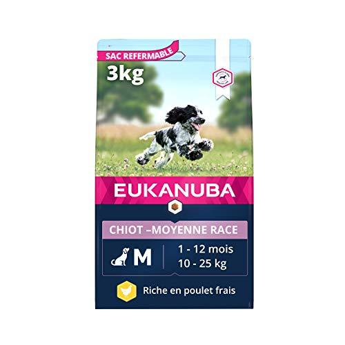 Eukanuba - Croquettes pour chiot de Race Moyenne - 100% complet et équilibré. Sans arôme artificiel ajouté, colorant artificiel ajouté ; Riche en poulet - calcium fibres FOS DHA – sac fermable de 3kg