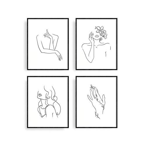 Minimalist Line Art Prints Set of 4 By Haus and Hues   Aesthetic Posters Room Decor, Apartment Decor, Minimalist Decor, Minimalist Wall Art, Black and White Abstract Trendy Modern Painting Unframed (8x10)