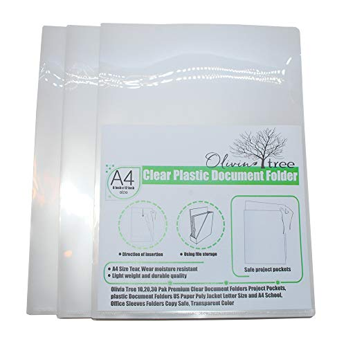 Olivia tree L Folders Multicolor 30 Pack Premium Clear Document Folders Project Pockets, Plastic Document Folders US Paper Poly Jacket Letter Size and A4 School Office Sleeves Folders Copy