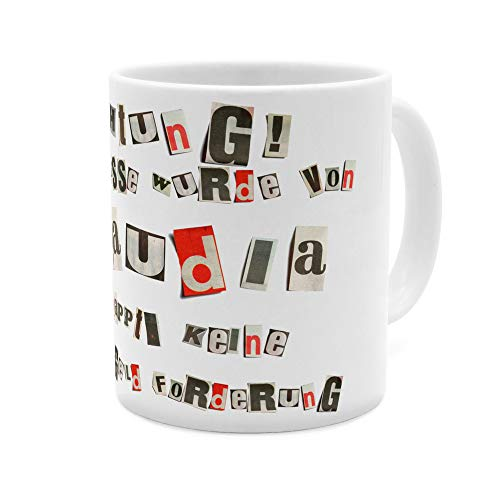 printplanet Tasse mit Namen Claudia - Motiv Ausgeschnittene Buchstaben - Namenstasse, Kaffeebecher, Mug, Becher, Kaffeetasse - Farbe Weiß
