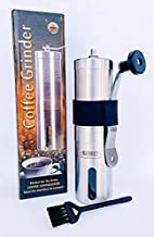 Manual coffee grinder - stainless steel conical ceramic burr coffee bean grinder for espresso and french press - portable for travel and camping - Adjustable hand crank for precision or coarse grind