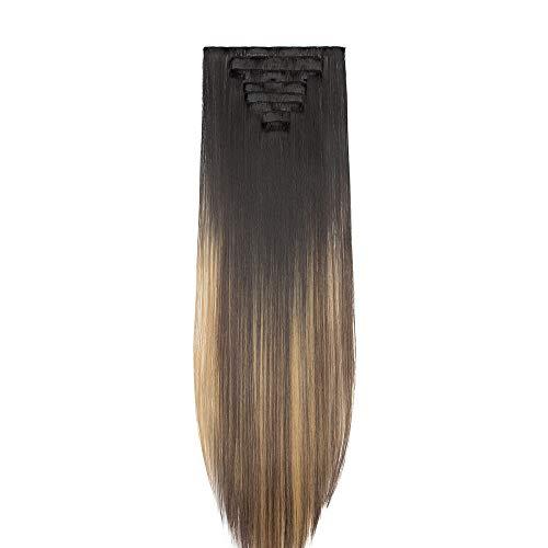 Extension Clip Capelli Lisci Lunghi 65cm Shatush - 8 Ciocche Extensions con Clips Posticci Hair Sintetici Full Head da Donna Effetto Naturale - Nero o