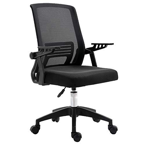 QNN Desk Chair,Swivel Chair Ergonomic Swivel Chairs for Office Bedroom Adult Desk Chairs with 90° Swivels Armrest 42-50Cm Adjustable Height Computer Desk Chairs,2Black
