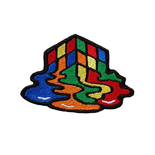 Emporium Embroidery Parches de bordado con diseño de cubo de Rubik derretido...
