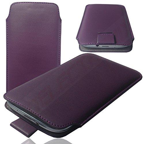 MOELECTRONIX 1A LILA Slim Cover Hülle Schutz Hülle Pull UP Etui Smartphone Tasche passend für Huawei Y7 / Dual SIM