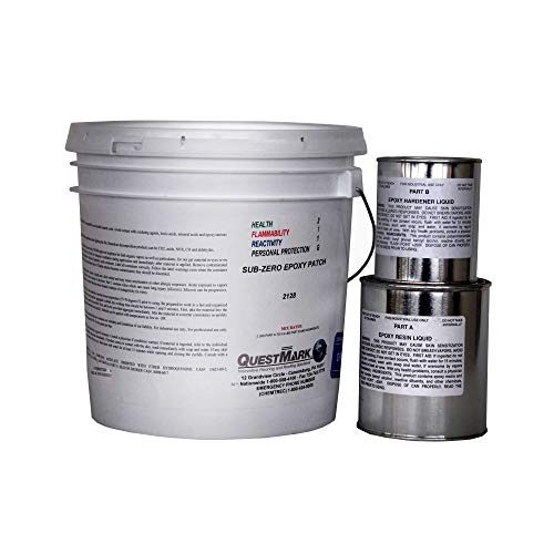 QuestMark 2128 Sub-Zero Epoxy Concrete Floor Patch - 2 Gallon Unit, Natural- Three Component 100% Solids Mortar - Fill and Repair Cracks and Holes in Cold Storage, and Sub-zero Walk In Freezers