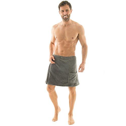 CelinaTex Malaga Jupe de Sauna L/XL pour Hommes en Microfibre Coral Fleece Gris