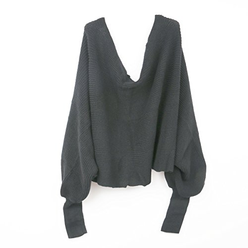 Tinksky Sweater Shawl-Unisex Wool Knitted Scarf Shawl with Sleeves for Autumn Winter (Dark Grey)