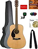 Fender CD-60S Solid Top Dreadnought Acoustic Guitar, Left Handed - Natural Bundle with Gig Bag, Tuner, Strap, Strings, Picks, Austin Bazaar Instructional DVD, and Polishing Cloth