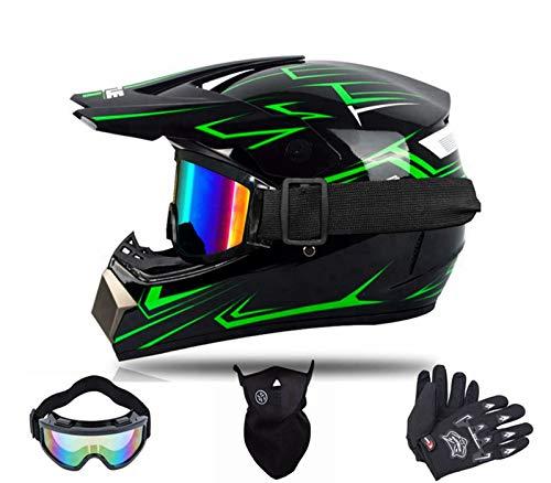 BDUCK Jugend Kinder Offroad Helm,Motorrad Crosshelme & Enduro helme, Downhill Helme,D.O.T Standard Kinder Quad Bike ATV Go-Kart-Helm,Mit Mask Brillen handschuhe (Grün, S)