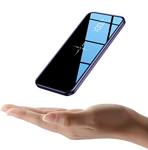 CGGA Mirror Power Bank 30000mah, Qi Fast Wireless Charger, Portable External Battery, Compatible with Iphone, Huawei, Samsung, Tablets and Other Devices