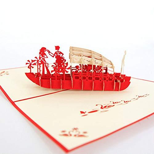 HUDETIE 3D Laser Cut Handgemaakte West Lake Houten Boot Lover Papier Uitnodiging Wenskaarten Postkaart Valentijnsdag Propose Creatief geschenk