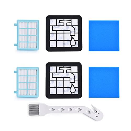 Artraise Juego de 2 filtros de repuesto para aspiradora Philips PowerPro Compact y Active FC9331/09 FC9332/09, FC8010/01, azul/blanco