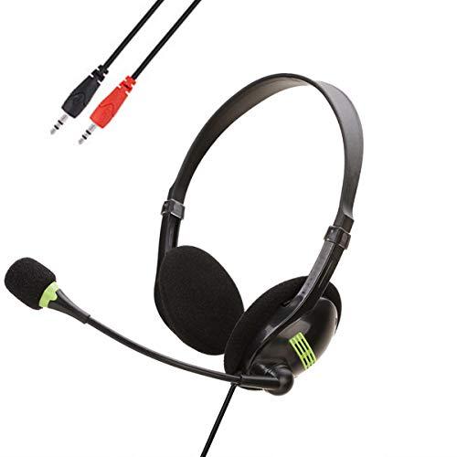 SOONHUA Dual 3. Auriculares de 5 Mm con Micrófono en La Oreja Auriculares con Interruptor de Micrófono Control de Volumen para Computadora Portátil de Escritorio