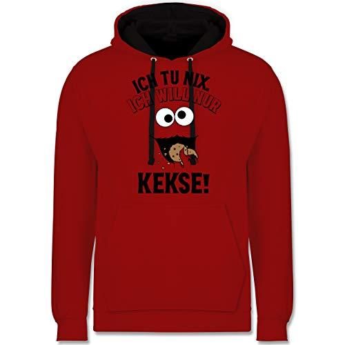 Shirtracer Karneval & Fasching - Ich tu nix. Ich Will nur Kekse! - schwarz - XS - Rot/Schwarz - Keks - JH003 - Hoodie zweifarbig und Kapuzenpullover für Herren und Damen