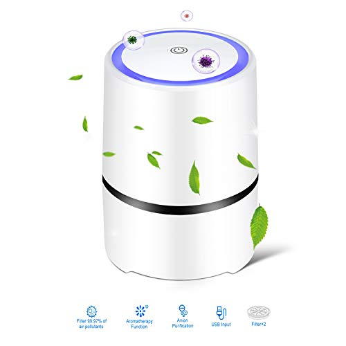 Purificatore d aria, camera da letto, filtro combinato HEPA, modalità sleep silenzioso, 3 velocità del vento, contro fumo, odori, allergie, pollini, polvere e pet Dander, ionizzatore