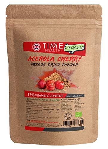 Organic Acerola Cherry Freeze Dried Juice Powder - Natural VIT C - Vegan - GMO Free - Gluten Free (125g Powder Pouch)