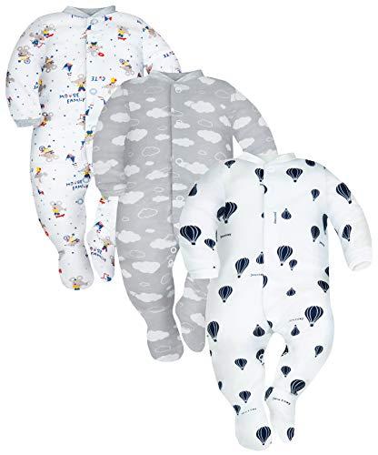 Sibinulo Jungen Mädchen Schlafstrampler mit Fuß 3er Pack Mäuse Wolken und Luftballons 56(0-3 Monate)