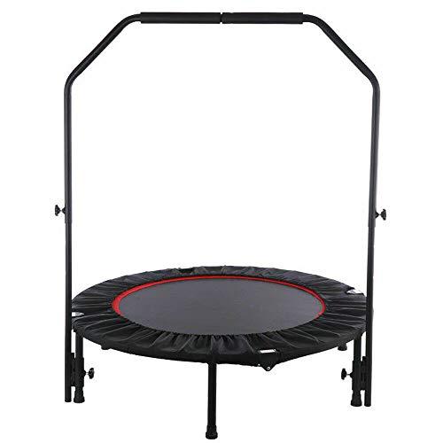 Wangkangyi - Trampolín de ejercicios para adultos con mango, cama elástica plegable con pasamanos, cama elástica pequeña para niños, carga dinámica de 50 kg