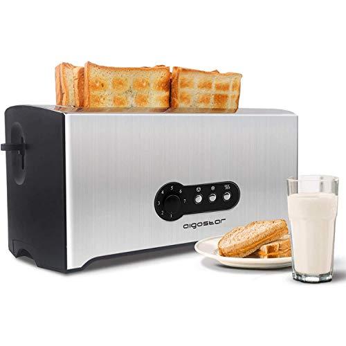 Aigostar Sunshine 30KDG - Tostadoras pan 4 rebanadas con 7 niveles de tostado, 1600 W, ranuras extra largas, Rejilla calientabollos integrada, función descongelación y recalentar, acero inoxidable.
