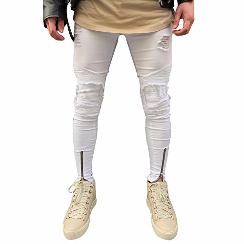 KEERADS Pantalons en Denim Jeans Homme, Chic Fermeture éclair Slim Biker Pantalon Skinny effiloché déchiré - Jeans Homme, Blanc, Taille 34-50, 33(FR44),Blanc