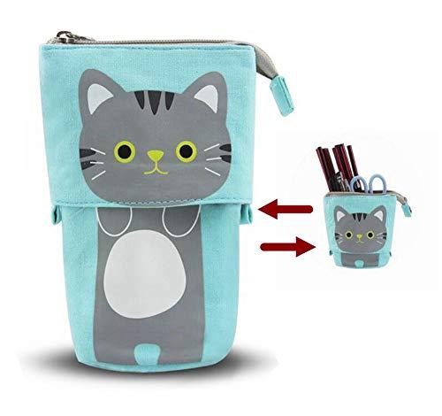 EDOBLUET4U888 Transformer Stand Store Pencil Holder Canvas+PU Cartoon Cute Cat Telescopic Pencil Pouch Bag Stationery Pen Case Box with Zipper Closure 7.5 x 4.9 x 3.0inch/4.1x 3.0inch (Blue)