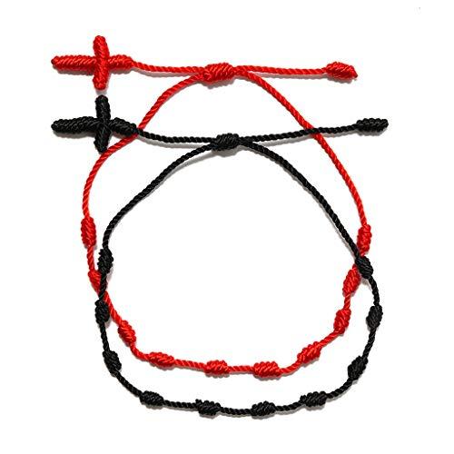 Juego de 2 pulseras de cuerda roja con 7 nudos, buena suerte, amuleto de la amistad, regalo para mujeres y adolescentes