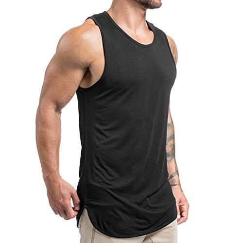 Magiftbox Mens Extended Scoop Workout Stringer Tank Tops Gym Shirts for Men Black/Khaki T05_Black_US-L