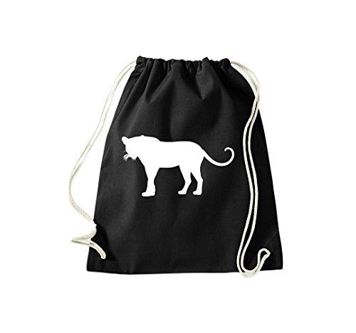 Unbekannt Turnbeutel; Tiermotiv Raubkatze, Puma, Leopard,Tiger, Jaguar, Panther, Löwe; Farbe Schwarz