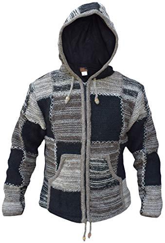 Gheri Natürliche Wollstrick-Flickenjacke, mit Fleecefutter, flippige warme Hippie-Winterjacke Gr. XL, Natürlicher Batik-Aufnäher