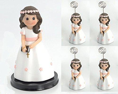 pequeño y compacto Momparler1870 set de portafotos de comunión de 12 piezas para niñas y 1 figura de pastel a juego