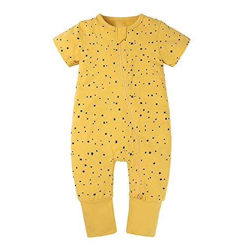 Happy Cherry - Saco de Dormir con Pies de Algodón para Bebé Niños de Verano 0.5 TOG Bolsa de Dormir Infantil Pelele con Estampado Lindo Cómodo para Recién Nacido
