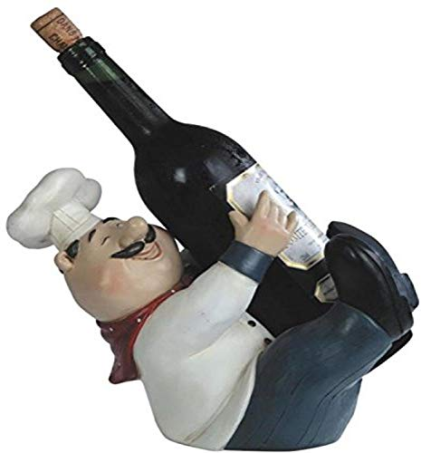 "StealStreet Chef Holding A Wine Bottle Figurine, 8"""