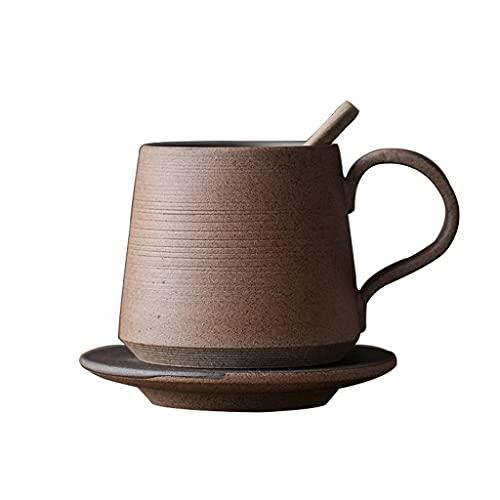 Taza de Latte Art Taza de café con sobresaliente y platillo, taza de café de cerámica de 350 ml con platillo y cuchara - leche de cerámica, taza de té fijada para oficina en casa - 1 taza (11.8 oz, 35