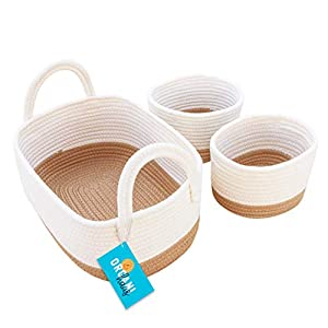 OrganiHaus Set of 3 Mini Woven Cotton Rope Nursery Baskets with Handles, Decorative Baby Room Cute Rustic Basket Storage Organizer Bin for Toys, Diapers, Crafts, Clothes, Laundry – Honey/White