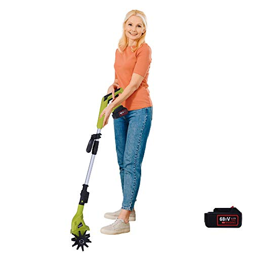 "Tillers/Cultivators Electric Cordless, Lightweight & 60 min Work, 20V Garden Cordless Tillers , 38""-50"" Retractable Pole & Adjustable Handle, Electric Cultivator 2.0Ah Battery & Charger Included"