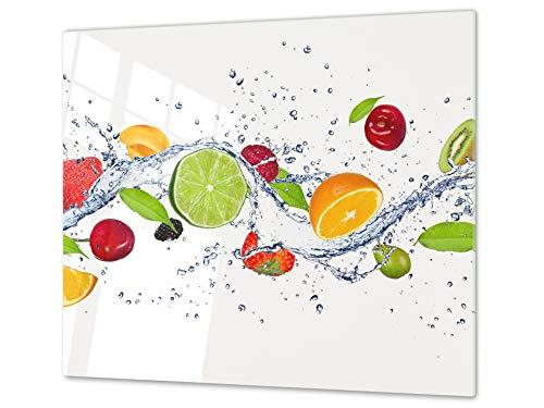 Tabla de cocina de vidrio templado - Tabla de cortar de cristal resistente – Cubre Vitro Decorativo – UNA PIEZA (60 x 52 cm) o DOS PIEZAS (30 x 52 cm); D07 Frutas y verduras: Frutas 14