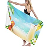 LOV-Tshirts Tropical Leaves Sea Drink Flip Flop Beach Towels Polyester Quick Dry Soft Bath Sheets,Summer Premium Outdoors Large Bath Towels for Yoga Mat Beach Cover 130x80cm