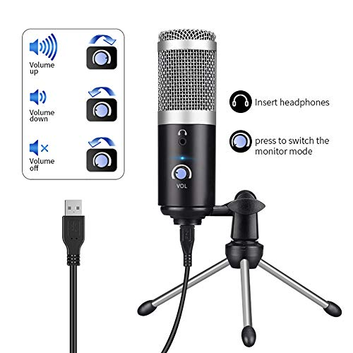 BLKykll Condensatormicrofoon USB met microfoonstandaard voor podcast, voor studio-opnames pc-microfoonsets voor YouTube, video, podcast, studio, streaming, broadcast