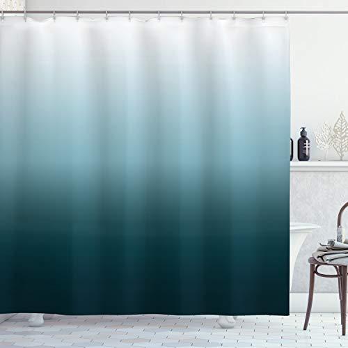 ABAKUHAUS Ombre Duschvorhang, Teal Shades Entwurf, mit 12 Ringe Set Wasserdicht Stielvoll Modern Farbfest & Schimmel Resistent, 175x220 cm, Teal Hellblau & Weiß