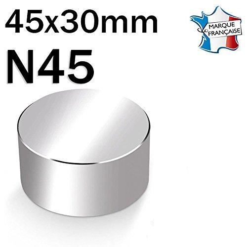 Imán Disco magnético neodimio diámetro N4545x 30mm–120kg–niquelado