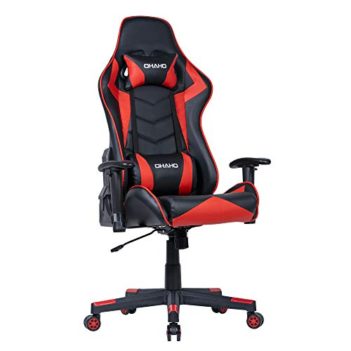 OHAHO Gaming Chair Racing Style Office Chair Adjustable Massage Lumbar Cushion Swivel Rocker Recliner PU Leather High Back Ergonomic Computer Desk Chair with Retractable Armrest (Red)