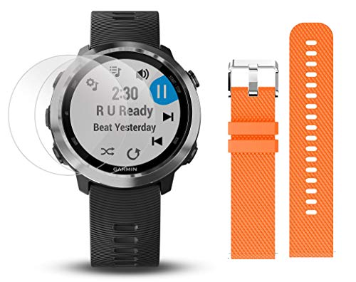 Garmin Forerunner 645 Music Bundle with Extra Band & HD Screen Protector Film (x4) | Running GPS Watch, Wrist HR, Music & Spotify, Garmin Pay (Stainless + Music, Orange)