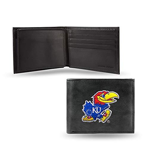 NCAA Kansas Jayhawks Embroidered Leather Billfold Wallet, Black, 3.25 x 4.25-inches
