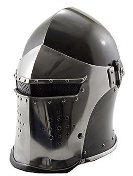 VTC Helmet New Black Barbuta Roman Gladiator Armor Helmet Adult 72 cm inner circumference