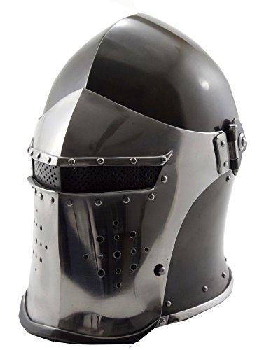 VTC Helmet New Black Barbuta Roman Gladiator Armor Helmet, Adult 72 cm inner circumference